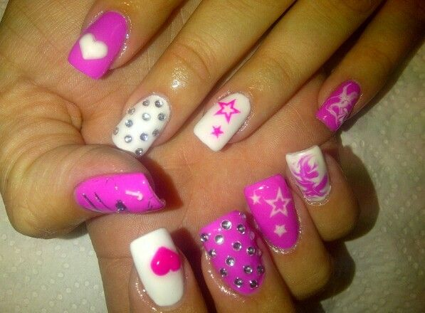 31 best cute nails images on pinterest nail arts gel nails and pink white nails with different nail designs prinsesfo Image collections