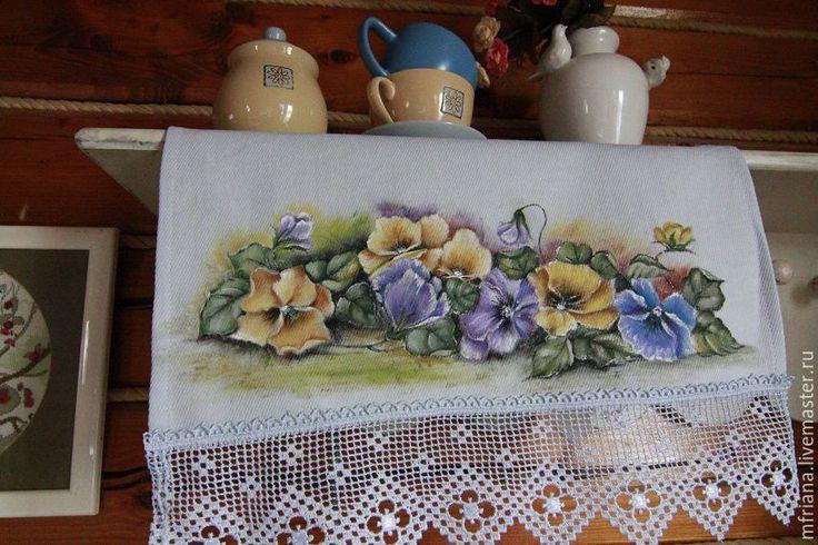 Купить Кухонное полотенце - комбинированный, полотенце, полотенце для кухни, полотенце кухонное, ручная роспись
