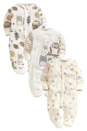 Buy Owl Sleepsuits Three Pack (0-18mths) from the Next UK online shop