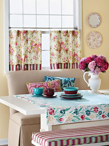 Cheery and Bright; Great idea for small dining spaces~: Kitchens, Decor, Kitchen Banquette, Interior, Benches, Breakfast Nooks, Kitchen Ideas, Banquette Idea, Room