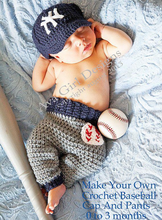 Newborn baseball cap pants crochet pattern 0 to 3 months on Etsy, $7.99
