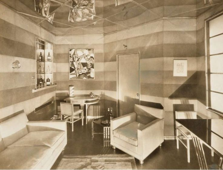 """American Art Deco/  Donald Deskey, """"Man's Room"""" for 1928 exhibition of American Designers' Gallery, lnc., New York. Donald Deskey Collection. Cooper-Hewitt, National Design Museum, Smithsonian Institution, New York."""