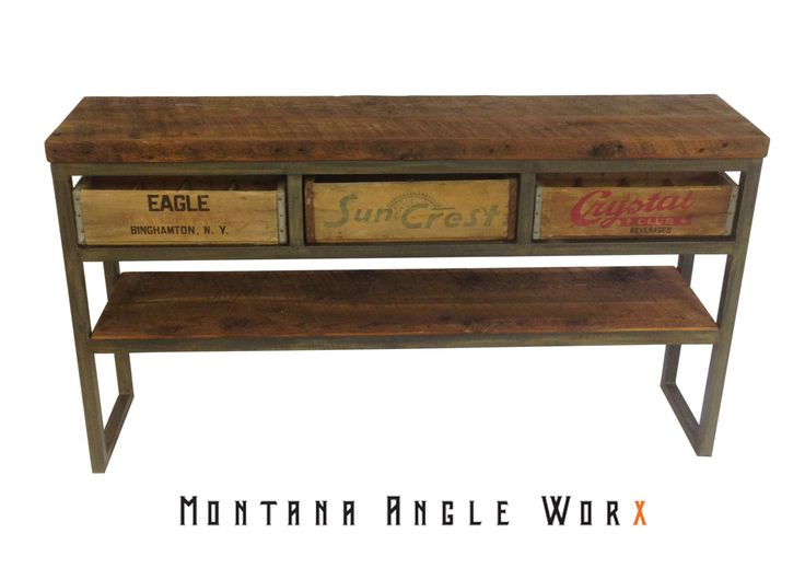 Vintage soda crate buffet/sofa table.  Available for sale at: https://www.etsy.com/listing/269401954/soda-crate-buffet-table-sofa-table
