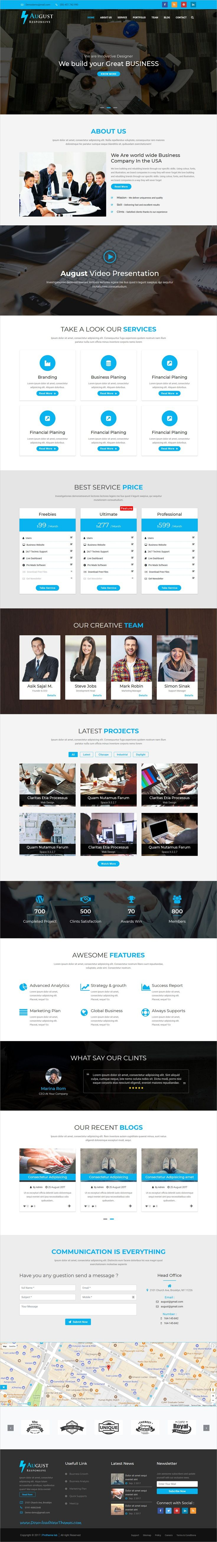 August is clean and modern design responsive #bootstrap template for #business consulting and professional services website to live preview & download click on Visit 👆