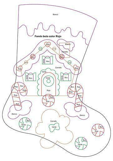 Imagen para porta cubierto - Christmas cottage stocking pattern