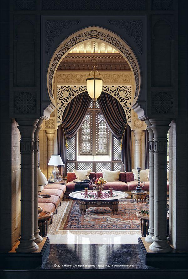 """Beautiful Moroccan design by Mohammad Taher -"""" Oriental Majlis """" Villa """"Sheikh Nawaf Al-khalifa"""" - Qatar"""