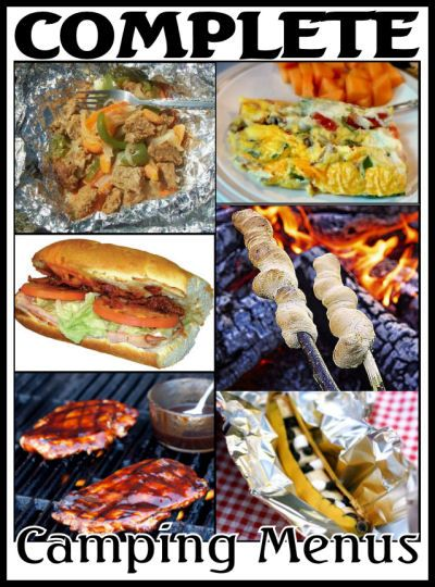 Easy camp meal recipes and complete weekend menu packages - including recipes and food shopping lists
