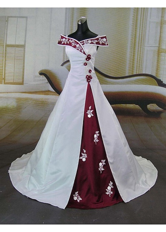 Beautiful Elegant Satin Ball Gown Off-the-shoulder Wedding Dress In Great Handwork