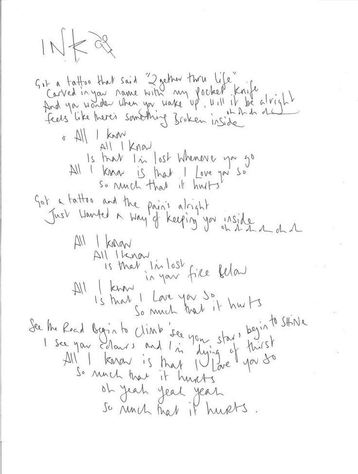 Ink lyrics - last handwritten lyrics found in #lyricshunt