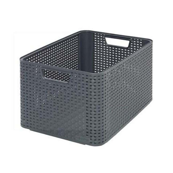 curver style 8 gal rattan storage tote in gray 222580 the home depot storage pinterest. Black Bedroom Furniture Sets. Home Design Ideas