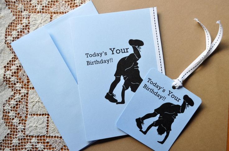 Gymnastics Silhouette Cartwheel Boy Happy Birthday Card and Hang Tag    Gymnastics Silhouette Cartwheel