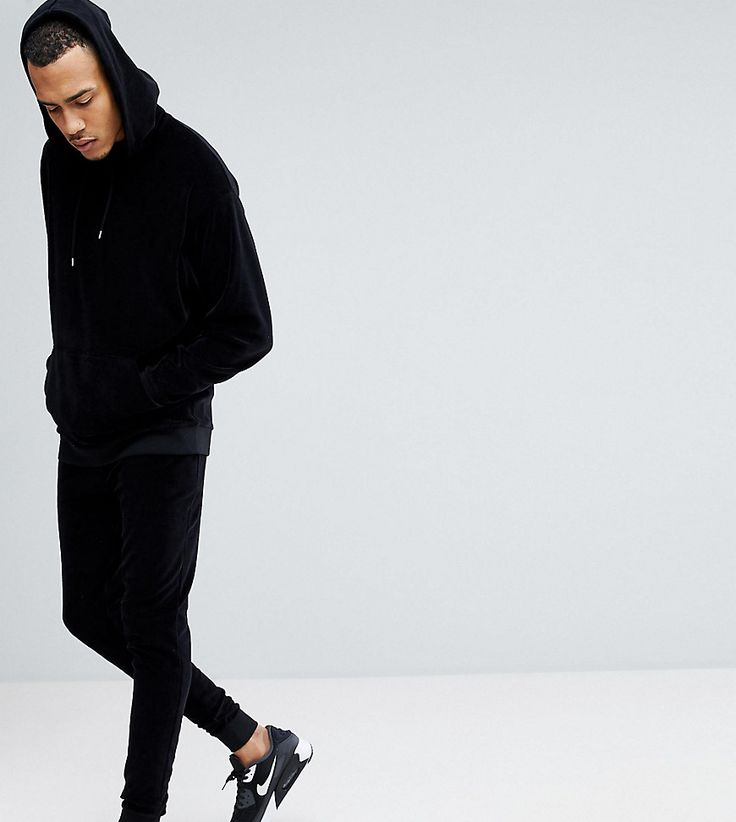 ASOS TALL Oversized Velour Hoodie/ Skinny Jogger Tracksuit In Black -