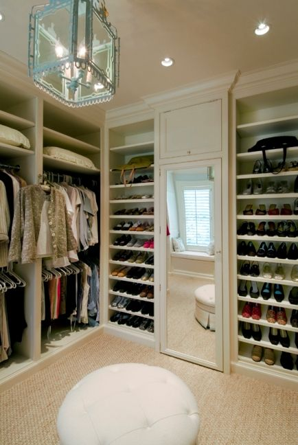 Closet Redo. Dressing Rooms by Fairfield County Architect, Brooks & Falotico...great idea for shoes on outside wall of our closet....gives extra room without taking up tons of space