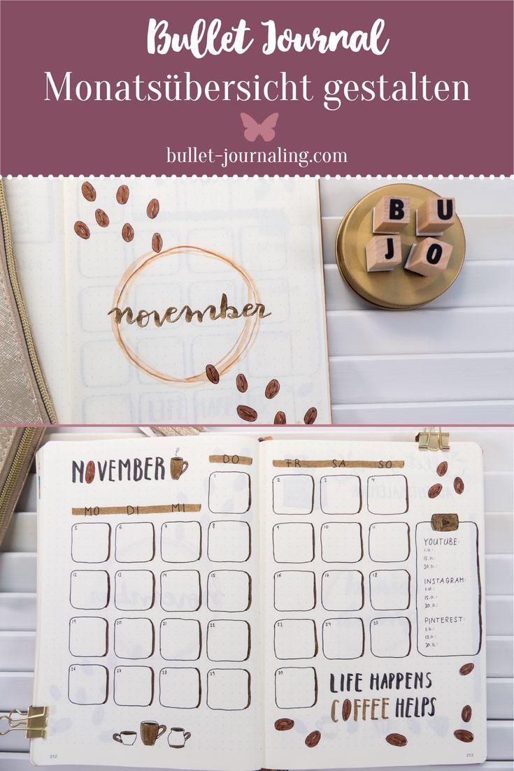 BULLET JOURNAL IDEEN  Für Coffee Lovers! Ein ganzes Bujo Monats Set Up im Kaffee Look: In diesem Blogpost zeige ich dir mein Bullet Journal im Novemb…