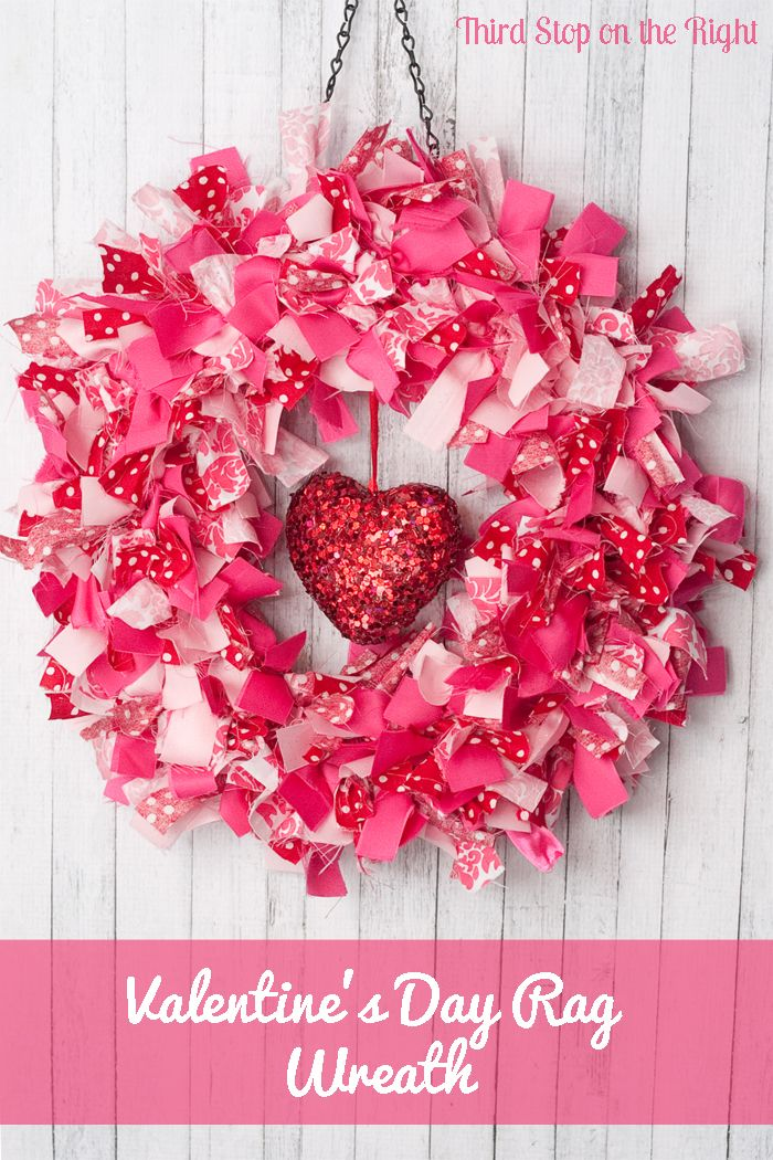This is an easy to make Valentine's Day rag wreath using fabric scraps.
