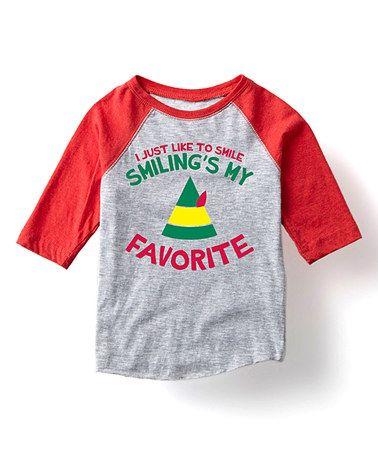 Look at this #zulilyfind! Athletic Heather & Red 'Smiling' Raglan'Tee - Toddler & Kids #zulilyfinds