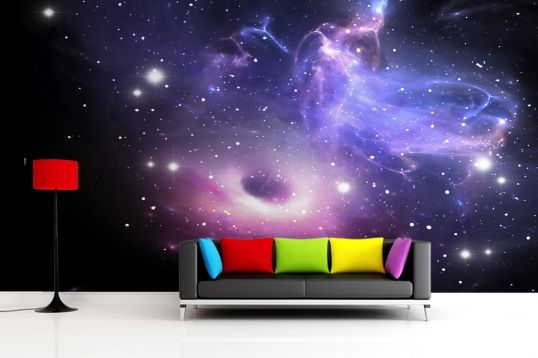 Bright galaxy wallpaper wall mural galaxies design and for Bright bedroom wallpaper