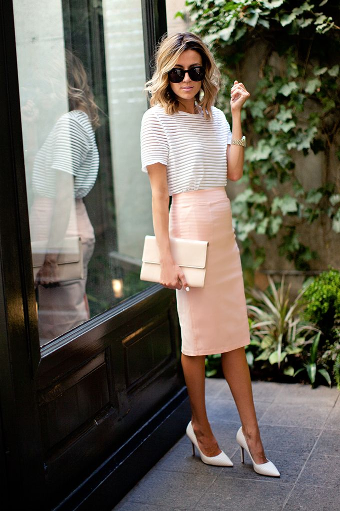 Spring / Summer - street chic style - business casual - work outfit - office wear - pale pink pencil skirt + white stilettos + nude clutch + white short sleeve blouse + sunglasses