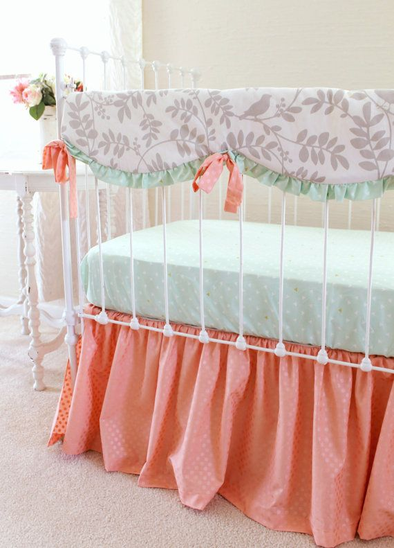 Crib Bedding Set in Peach Mint Gray 3-Piece by LottieDaBaby