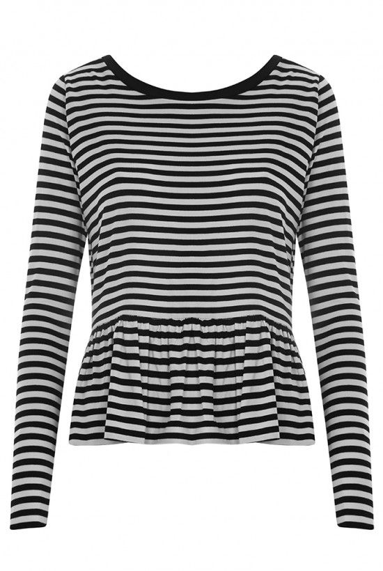 Joy Odette Frill Hem Striped Jersey Top