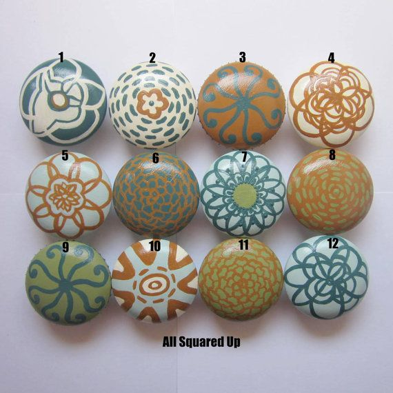 Pin On Ideas For My Flat, Hand Painted Wood Cabinet Knobs