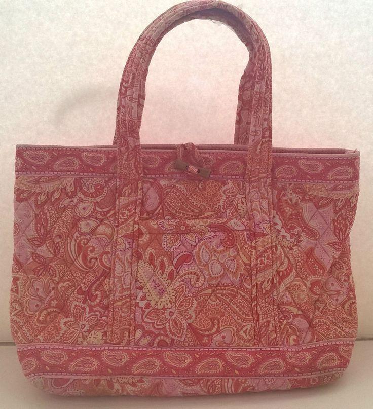 Vera Bradley Sherbet Pink and Orange Paisley Tote Handbag Purse  Retired #VeraBradley #TotesShoppers