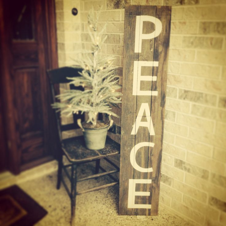 Rustic christmas peace sign made from old fence wood and for Old wooden fence ideas