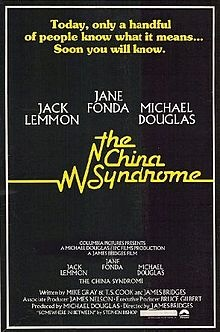 The China Syndrome is a 1979 American thriller film that tells the story of a reporter and her cameraman who discover safety coverups at a nuclear power plant. It stars Jane Fonda, Jack Lemmon, Michael Douglas, Scott Brady, James Hampton, Peter Donat, Richard Herd, and Wilford Brimley.  The film was directed by James Bridges and written by Bridges, Mike Gray, and T. S. Cook.