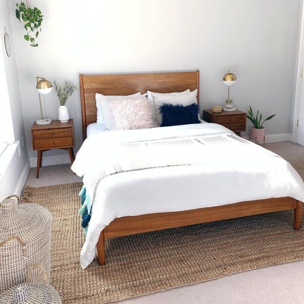 Diy Bed Frame Mid Century Mid Century Bed Acorn In 2020 With