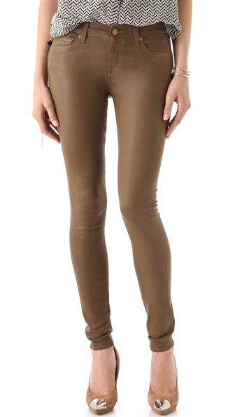 7 For All Mankind- High Shine Skinny Jeans in Sepia Brown
