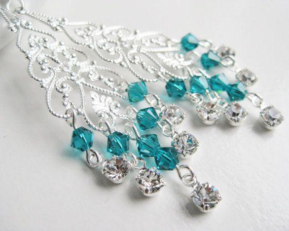 Teal chandelier earrings Swarovski crystals green by Etincellent