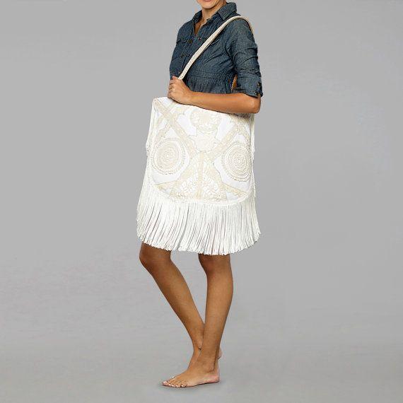 Summer boho white tote bag Greek tagari with by theWhiteSantorini