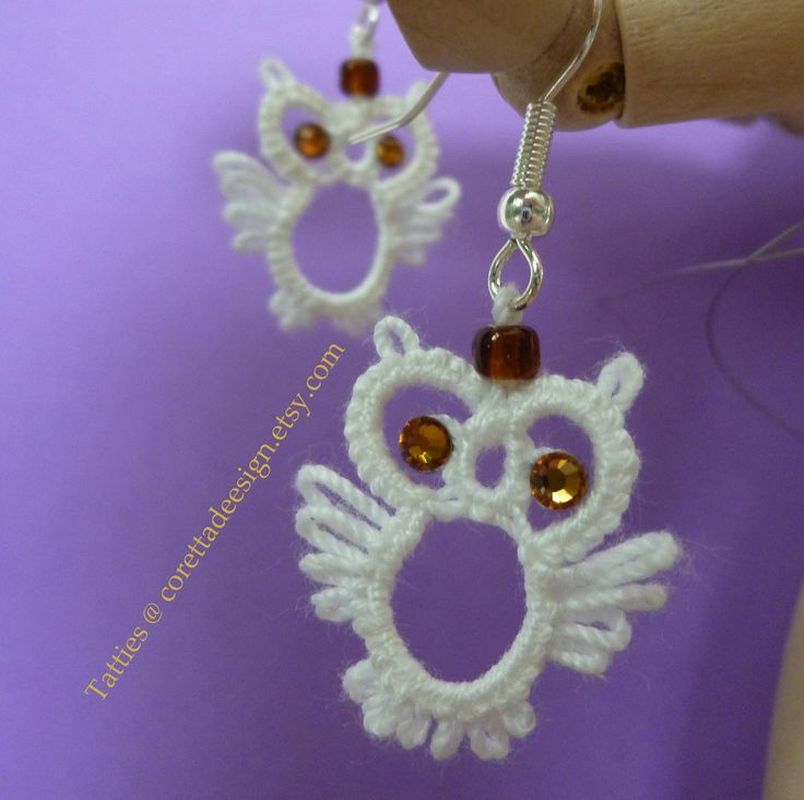 Tatted Owl Earrings by corettadeesign on Etsy, $12.00