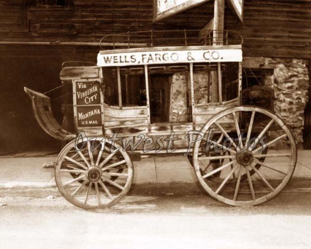 Wells Fargo Stagecoach   WELLS FARGO STAGECOACH STAGE COACH VIRGINIA CITY MONTANA MT PHOTO ...