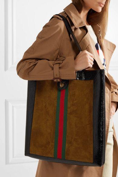 1193424234e4ae Gucci | Ophidia medium patent leather-trimmed suede tote | NET-A-PORTER.COM