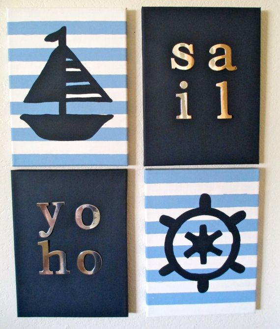 Ship and Steer Sailing Nautical Canvas by ArtisticMuseAlley, $45.00