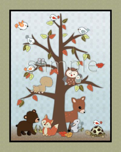 Forest Friends Woodland Animal Owl Fox Kids Baby Nursery Art Prints Wall Decor | eBay
