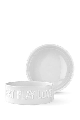 White Large Sculpted Eat Play Love Bowl