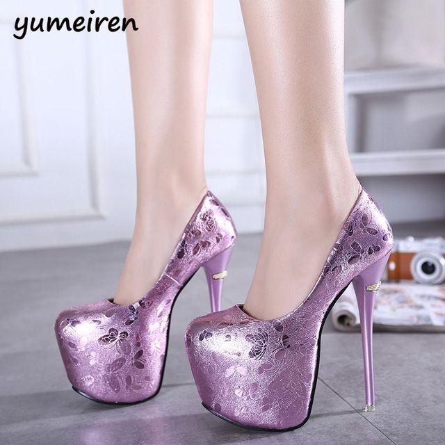 Casamento vermelho sapatos de noiva 16 cm mulheres sapatos de salto alto bombas da Plataforma brilho sapatos de saltos sexy bombas Dos Saltos Altos sapatos sexy roxo X37