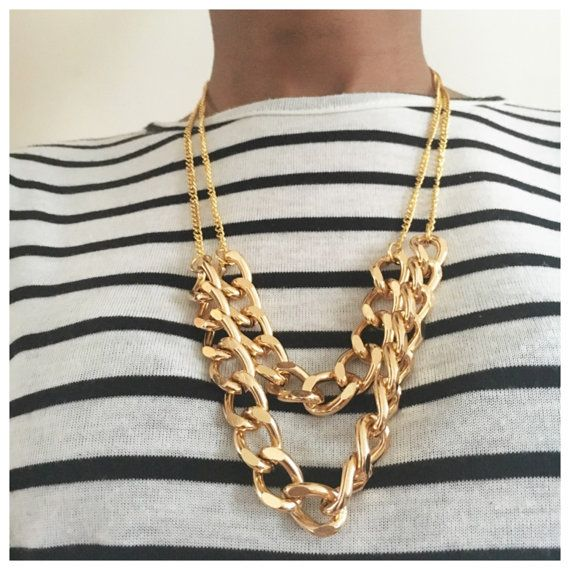 Gold Rope & Chunky Chain Necklace by PrettyDaintyJewel on Etsy