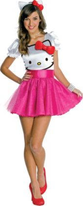 Teen Girls Hello Kitty Costume - Party City. Maybe add some white or pink leggings and I'd love it!