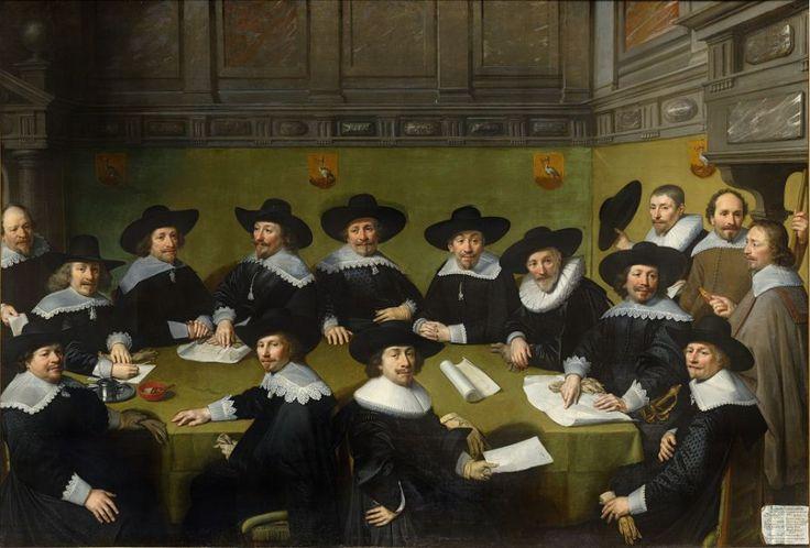 Jan van Ravesteyn, 1636    Nu te zien in de Schutterszaal (zaal 8)Aan het hoofd van de tafel zit de machtigste man van de lokale overheid: de baljuw Quinty…