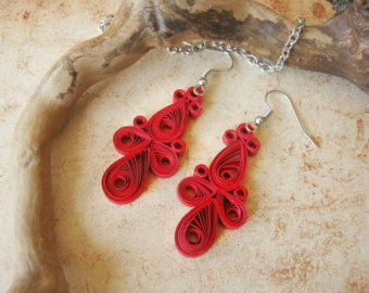 Unique paper earrings, First anniversary gift for her, Red  earrings, 1 anniversary gift, Red Long earrings