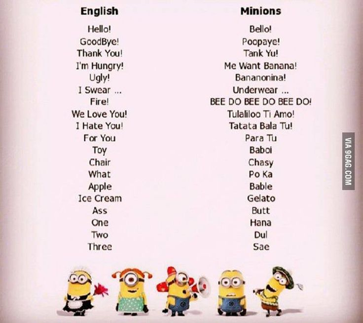 diccionario de los minions