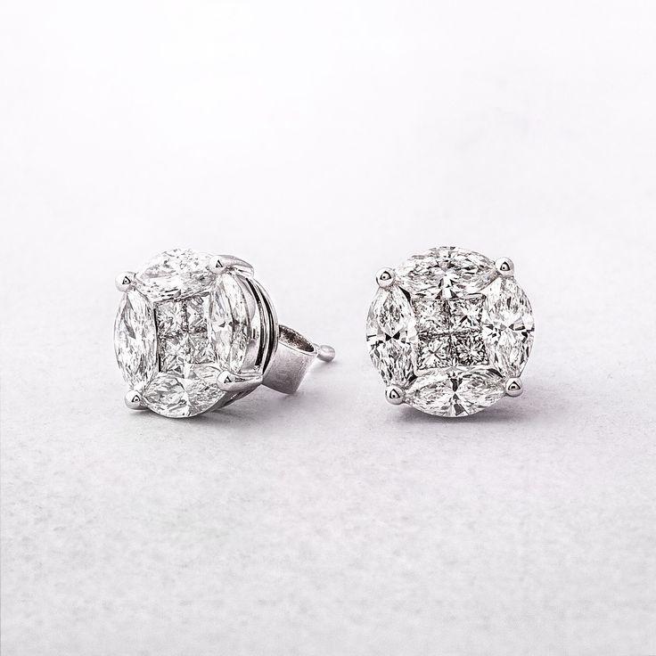 1.02ct Multi Stone Diamond Stud Earrings