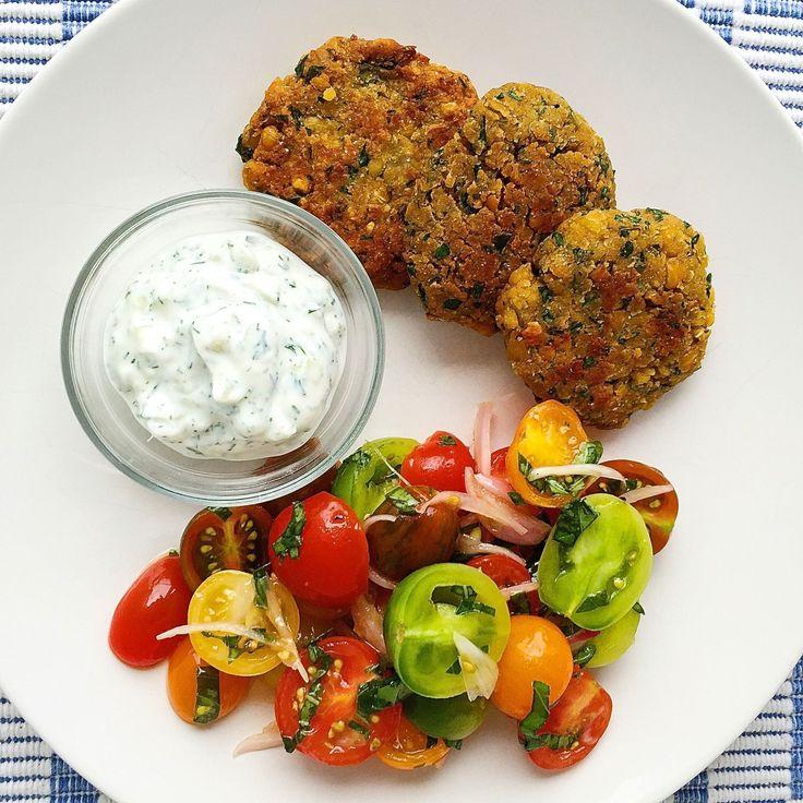 Crispy Chickpea Fritters with Tzatziki and Tomato Salad  - Delish.com