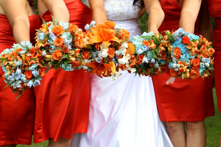 Wedding color ideas, persimmon and sky blue  - i love the idea of persimmon? i really want to use a sort of orange.