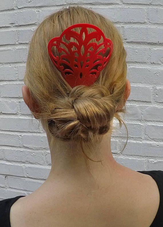 Flamenco peinta many colors hair comb red vintage medium | Etsy | Hair comb, Spanish hairstyles, Flamenco