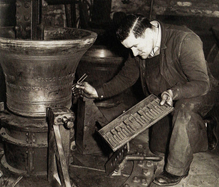 John Mackenzie tunes in a bell destined for the new Cathedral in Washington DC, USA, at the well-known bell foundry in Whitechapel, London - 19 December 1962