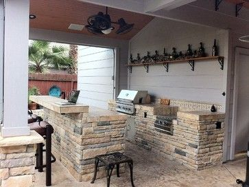 Houston Rustic Outdoor Bar And Grill Area Contemporary Patio